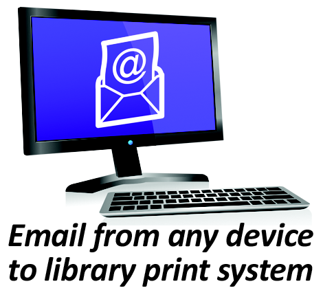 Email from any device to library print system